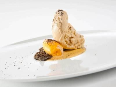 3-Komponenten Dessert: Marille / Mohn / Kaffee
