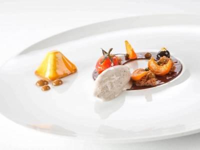 3-Komponenten Dessert: Kaffee / Mohn / Marillen