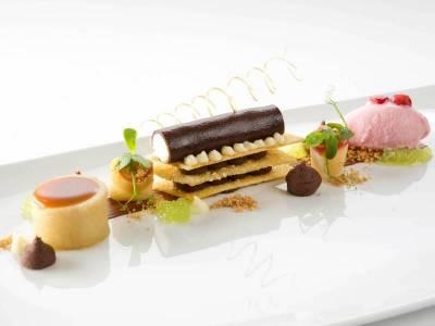 Freestyle-Dessert: Idaredapfel / Equatoriale Noire 55% / Karamell