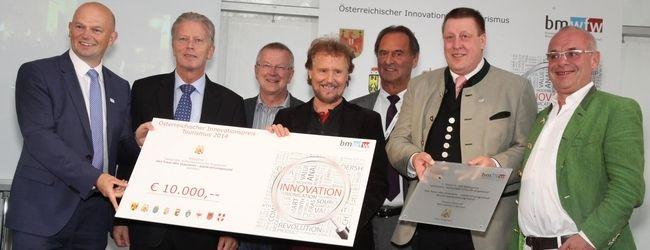 Verleihung des 2. Österreichischen Innovationspreises Tourismus (ÖIT):  v.l.n.r.: GF Christian Kresse, BM Reinhold Mitterlehner, Dr. Armin Wabnig, Manfred Tischitz, NAbg. Gabriel Obernosterer, Bgm. Josef Jury, Siggi Neuschitzer