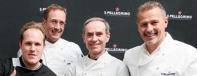 """Die deutsch-österreichische Jury für den """"S.Pellegrino Young Chef 2016"""" Award: Tobias Wussler, Nils Henkel, Karl Obauer, Karlheinz Hauser (v.l.)"""